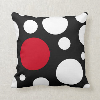 modern black, white & red with circles throw pillow