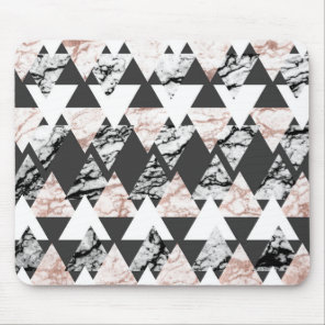 Modern Black White Rose Gold Marble Geo Triangles Mouse Pad