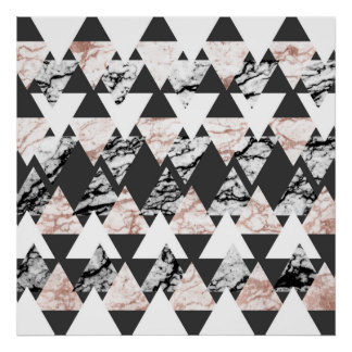 Modern Black White Rose Gold Marble Geo Triangles Poster