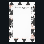 """Modern Black White Rose Gold Marble Geo Triangles Stationery<br><div class=""""desc"""">This modern and chic black and white triangles with faux printed rose gold marble and black and white marble triangles is perfect for the trendy and stylish individual. Its contemporary and swanky print is great for many gifts and occasion. Enjoy this cool and sophisticated design for your next purchase!</div>"""
