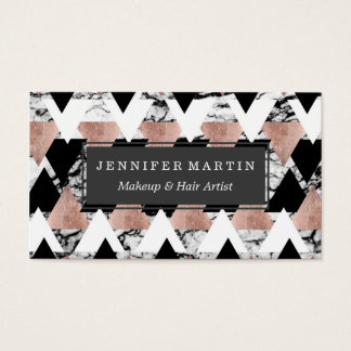 Modern Black White Rose Gold Triangles on Marble Business Card