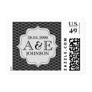 Modern Black White Save the Date Monogram Postage