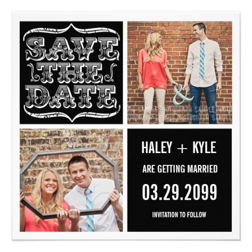 Modern Black & White Save the Date Photo Cards