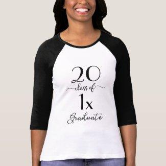 Modern Black & White Script Class Of YEAR Graduate T-Shirt