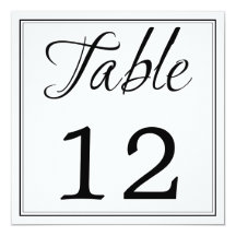 "Modern Black & White Script Table Number Cards 5.25"" Square Invitation Card"