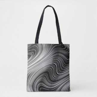 Modern Black White Silver Grey Curvy Lines Tote Bag