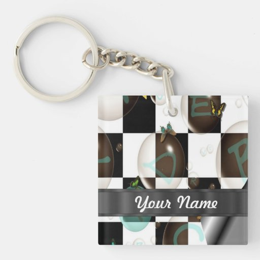 Modern black & white square acrylic key chain