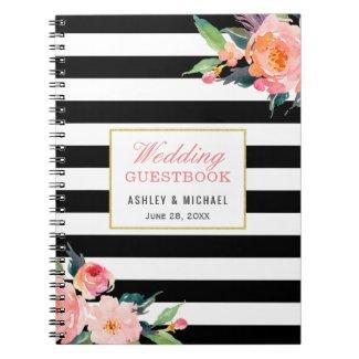Modern Black White Stripe Floral Wedding Guestbook