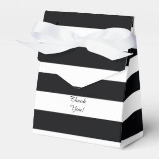 Modern Black White Striped Favor Box