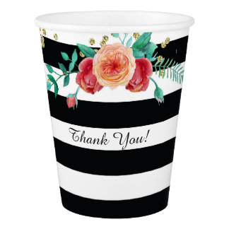 Modern Black White Striped Gold Paper Cup