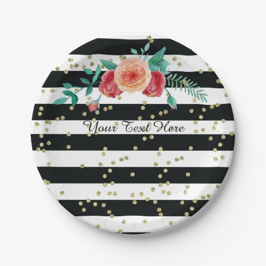 Modern Black White Striped Gold Paper Plates  sc 1 st  Zazzle : modern paper plates - pezcame.com