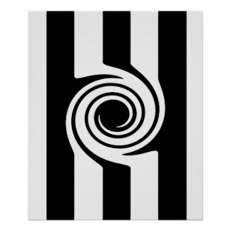 Modern Black white stripes and swirl abstract Poster