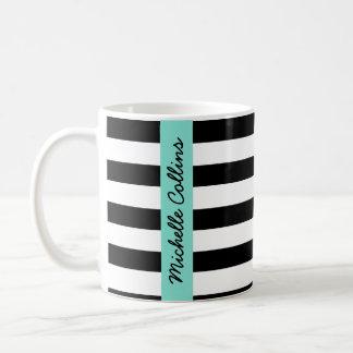 Modern black white stripes aqua personalized name coffee mug