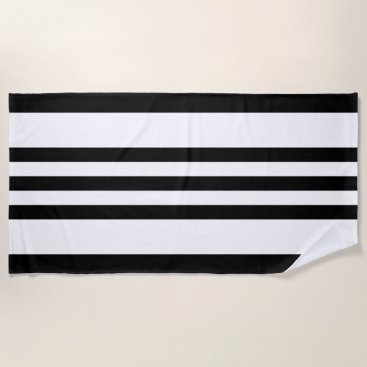 Beach Themed Modern Black & White Stripes Beach Towel