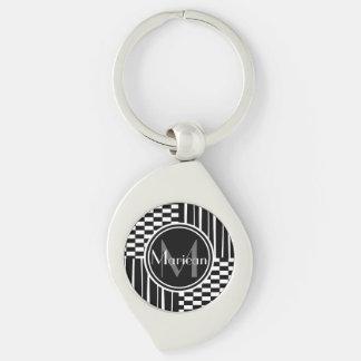 Modern black  white stripes  check monogram Silver-Colored swirl metal keychain