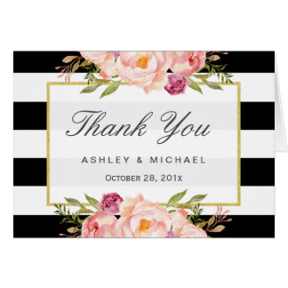 Modern Black White Stripes Classy Floral Thank You Card
