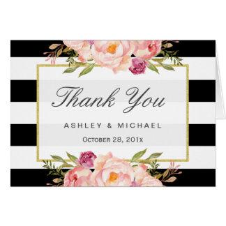 Modern Black White Stripes Classy Floral Thank You Card