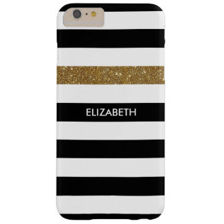 Modern Black White Stripes Gold Glitter and Name Barely There iPhone 6 Plus Case