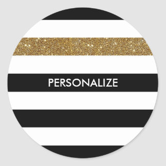 Modern Black White Stripes Gold Glitter and Name Classic Round Sticker