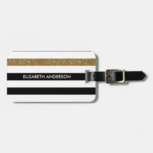 Modern Black White Stripes Gold Glitter and Name Luggage Tag