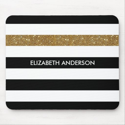 Modern Black White Stripes Gold Glitter and Name Mouse Pad