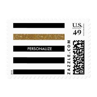Modern Black White Stripes Gold Glitter and Name Stamps