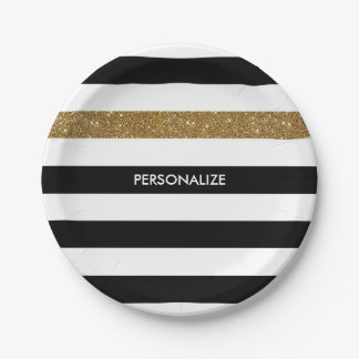 Modern Black White Stripes Gold Glitter and Name 7 Inch Paper Plate