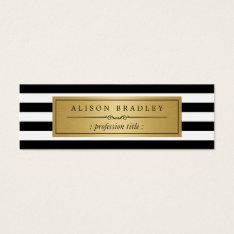 Modern Black White Stripes Gold Label Mini Card at Zazzle