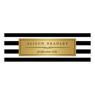 Modern Black White Stripes Gold Label Mini Card Double-Sided Mini Business Cards (Pack Of 20)