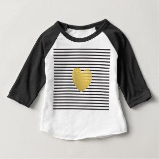 Modern Black White Stripes golden star shiny Baby T-Shirt