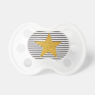 Modern black white stripes golden star shiny pacifier