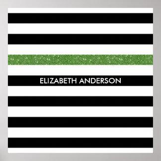 Modern Black White Stripes Green Glitter and Name Poster