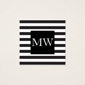 Modern Black White Stripes Monogram Square Business Card