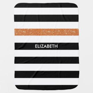 Modern Black White Stripes Orange Glitter and Name Baby Blanket