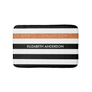 Modern Black White Stripes Orange Glitter and Name Bath Mats