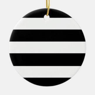 Modern Black White Stripes Pattern Ceramic Ornament