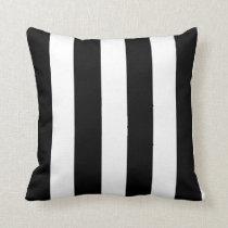Modern Black White Stripes Pattern Throw Pillow