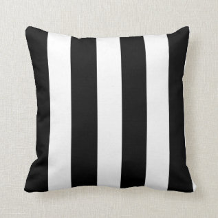 Modern Black White Stripes Pattern Throw Pillow at Zazzle