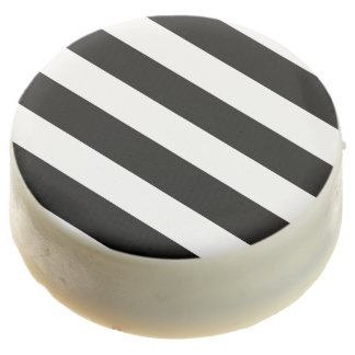 Modern Black White Stripes Pattern Chocolate Covered Oreo