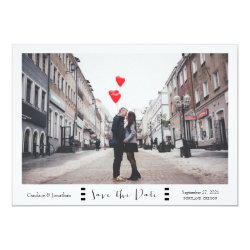 Modern Black & White Stripes Photo Save the Date