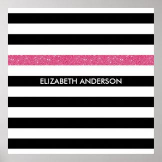 Modern Black White Stripes Pink Glitter and Name Poster