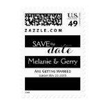 Modern Black & White Stripes Save The Date Postage Stamp