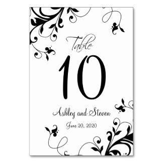 Modern Black White Swirls Wedding Table Card