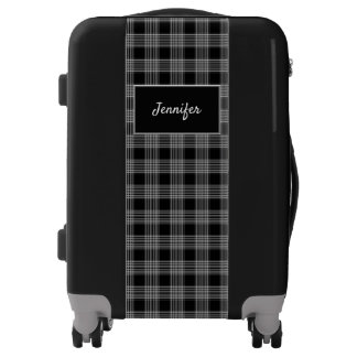 Modern black white tartan checkered name luggage