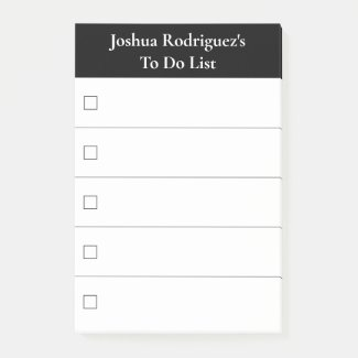 Modern Black White To Do List with Name Post-it Notes