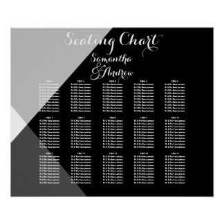 Modern black white triangles table seating chart poster