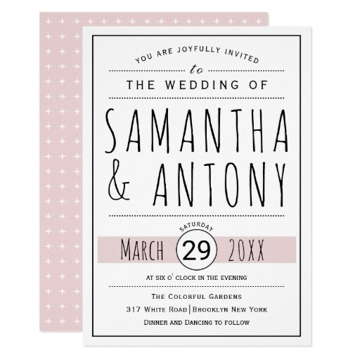 Modern black, white typography blush pink wedding card