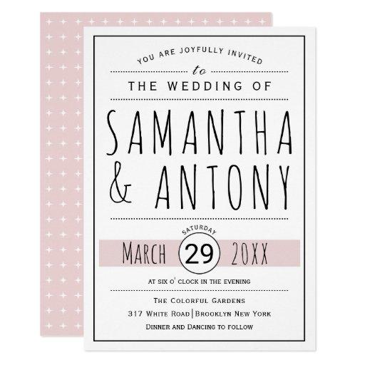 Modern black, white typography blush pink wedding card