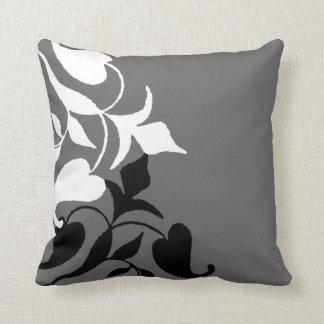 Modern Black & White Vine Grey Throw Pillow