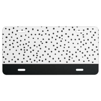 Modern black white watercolor polka dots pattern license plate